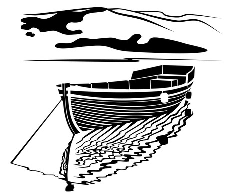 fisherman on boat: Black and white image of traditional  fisherman boat