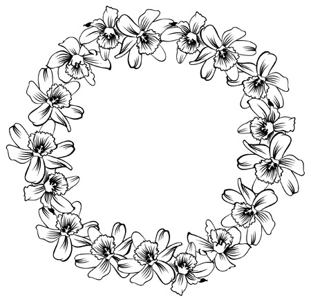 narcissus: round frame with flowers Illustration