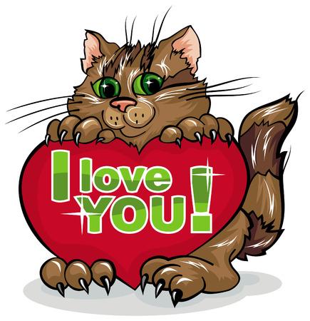 Hübsch Katze mit roten Herzen