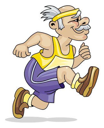 pensioner: Old man running Illustration