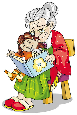 grandchildren: Mature woman reading a book to her little granddaughter Illustration