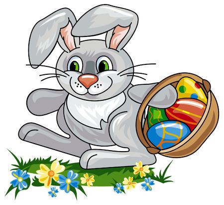 conejo caricatura: Conejo de Pascua con una canasta llena de huevos de Pascua Vectores