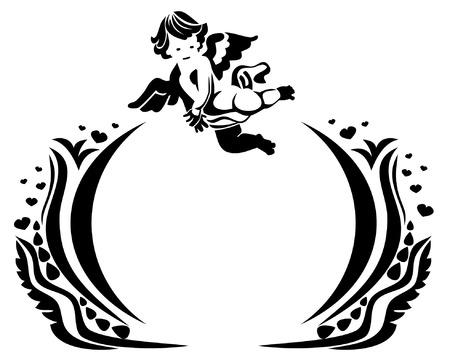 cherub: Abstract decorative frame with cherub