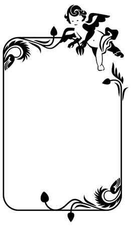 cherub: silhouette frame with cherub