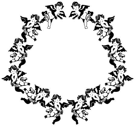 decorative frame with cherubs Vector