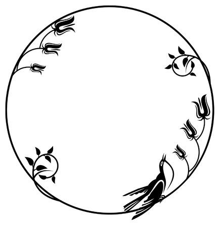 circulaire: Frame silhouette ronde avec bird et fleurs