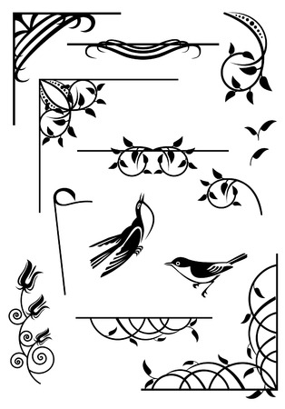 bookish: design elements for frames and borders Illustration