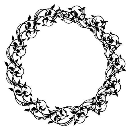 Round elegant silhouette frame Stock Vector - 8786294