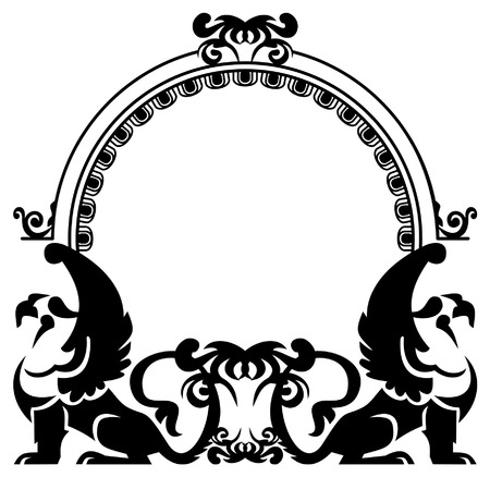 silhouette frame with griffins Vector
