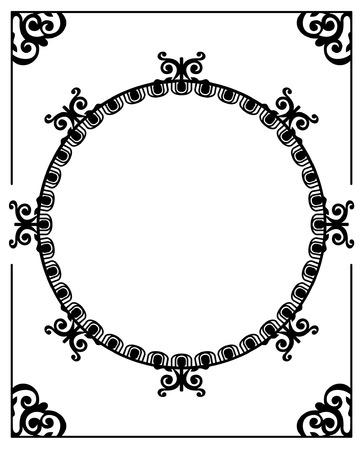 Round elegant silhouette frame Stock Vector - 8786310