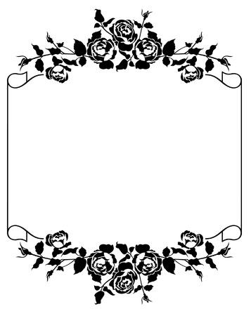 Roses silhouette frame