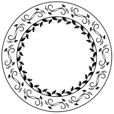 Round elegant silhouette frame Stock Vector - 8789337