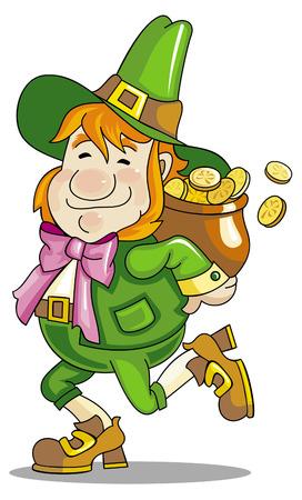 gnome: leprechaun is hiding his gold Illustration