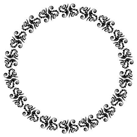 Round elegant silhouette frame Stock Vector - 8789291