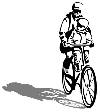 adult and child on a bicycle Stock Vector - 8893160