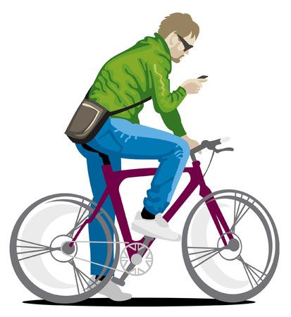 젊은 남자가 자전거에 일러스트