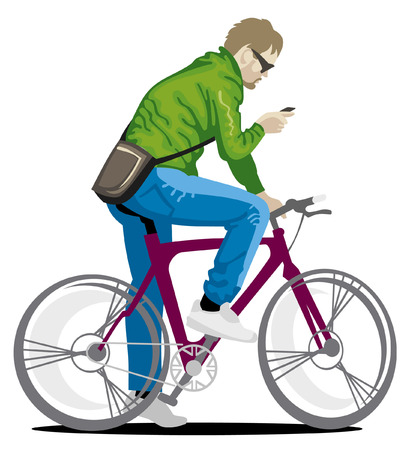 cycle ride: young man on a bike Illustration