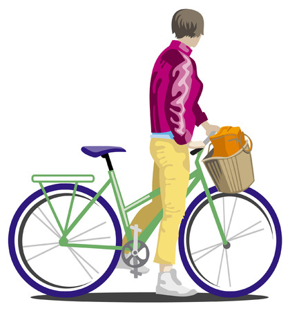 Girl in yellow pants on a bike