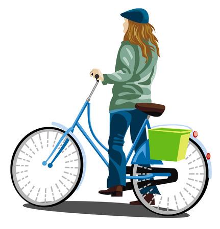 Girl in blue cap on a bike