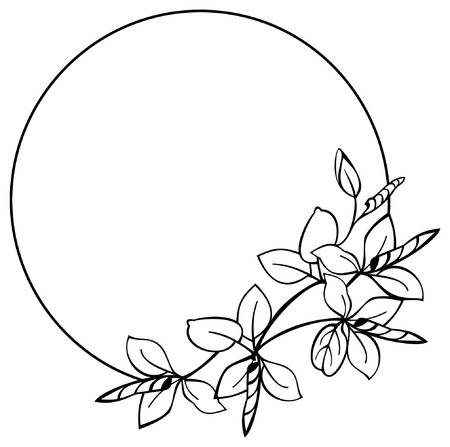 simple frame: Round flower frame Illustration