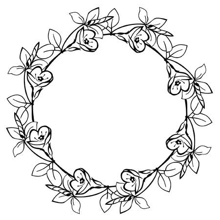 Round flower frame Stock Vector - 9056360