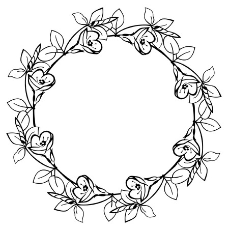 bookish: Round flower frame Illustration