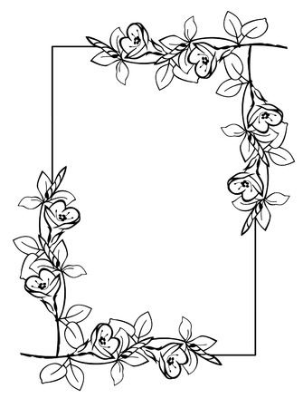 silhouette frame with flowers Vettoriali