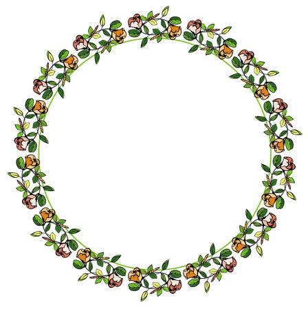 Round flower frame Ilustração