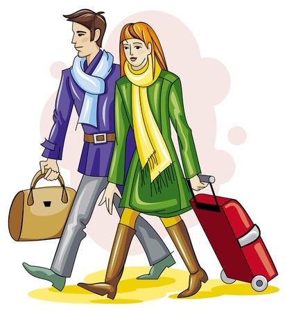 reiziger: Reizigers met Bagage  Stock Illustratie