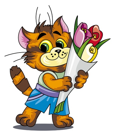 high spirits: Cat with a bunch of flowers