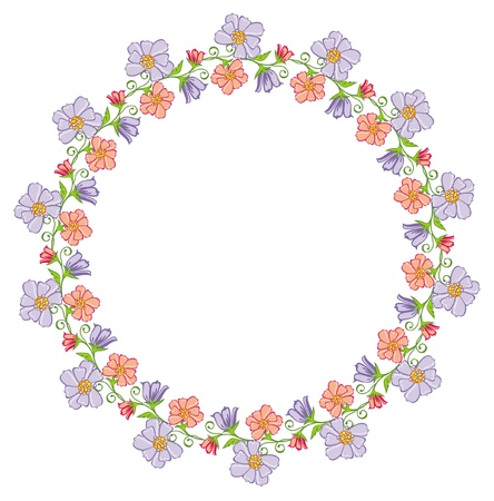 pastiche: round frame with flowers Illustration