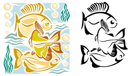 Three aquarium fish Vector