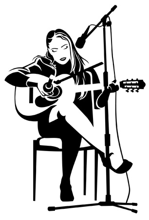 musician silhouette: Girl is playing on a guitar Illustration