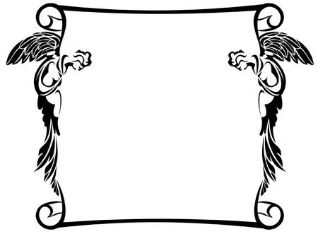 silueta de angel: Marco con silueta de �ngeles