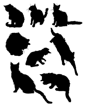 pussy cat: Vector cats silhouettes