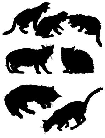 silueta de gato: Siluetas de gatos de vectores