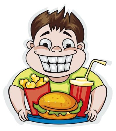Jonge jongen met een dienblad met voedsel