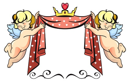 Two cupids with crown Stock Vector - 17533855