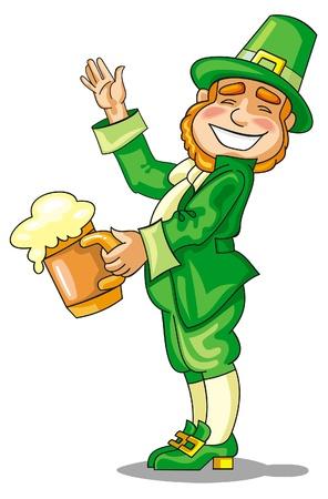 Smiling leprechaun with beer Stock Vector - 17666342