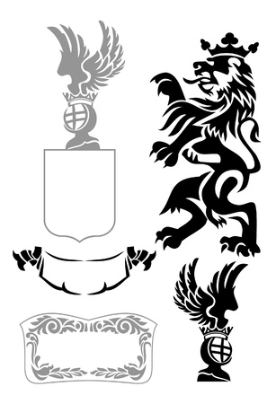 rampant: Set of heraldic elements