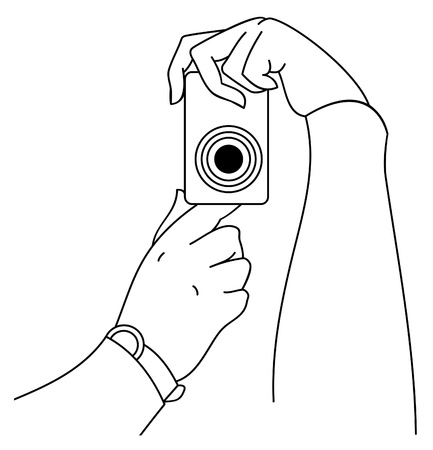 Photo camera in hands Stock Vector - 18585583