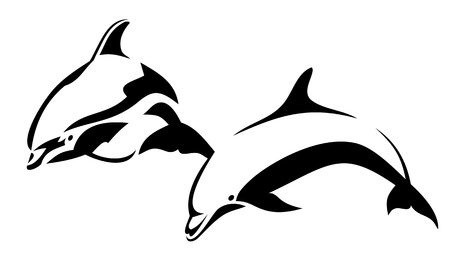 dolphin silhouette: Two dolphins Illustration