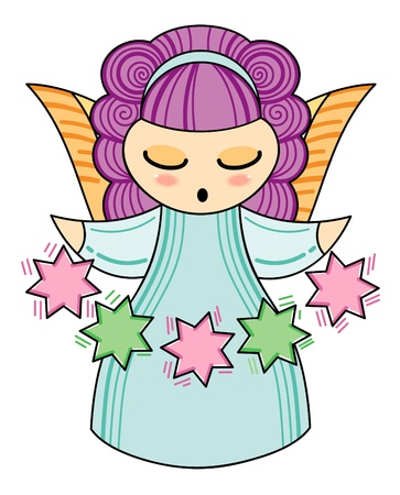 Little angel with a stars Vector