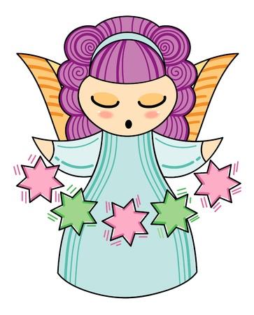 bautizo: Poco �ngel con las estrellas Vectores