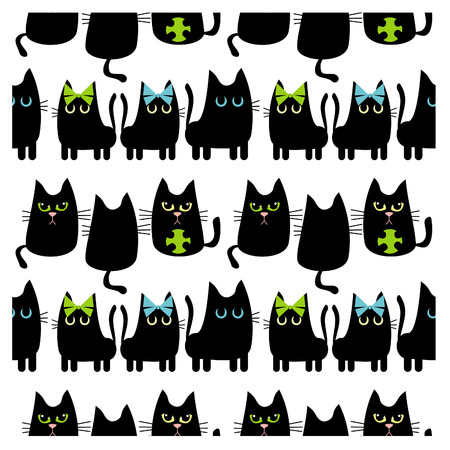 Black cats background Vector