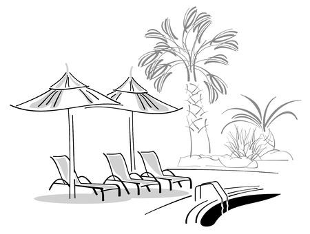 Las tumbonas y sombrillas, cerca de piscina
