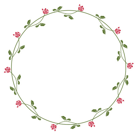 Round Elegant Frame With Roses Royalty Free Cliparts, Vectors, And ...