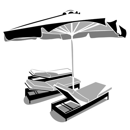 Sunbeds and umbrella Vector