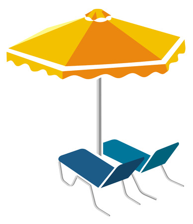 Blue sunbeds and yellow umbrella
