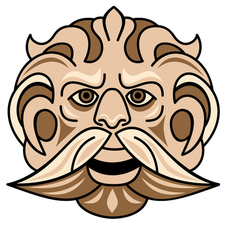 classical mythology character: Face of satyr Illustration
